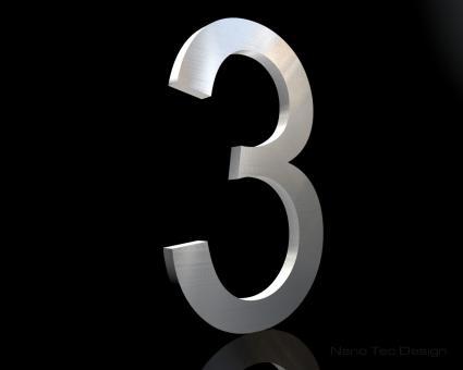 Edelstahl Hausnummer 3 in 6mm Stärke