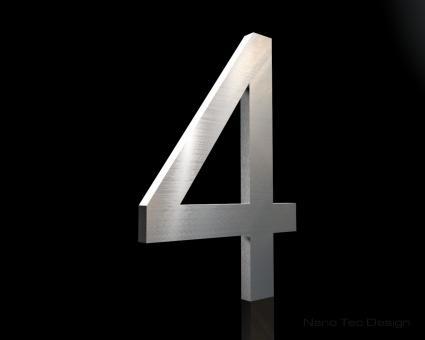 Edelstahl Hausnummer 4 in 6mm Stärke