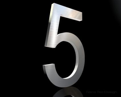 Edelstahl Hausnummer 5 in 6mm Stärke