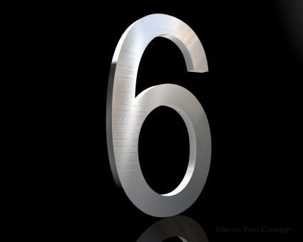 Edelstahl Hausnummer 6 in 6mm Stärke