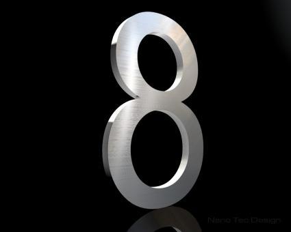 Edelstahl Hausnummer 8 in 6mm Stärke